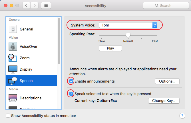 Select your voice and check boxes to enable